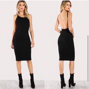 New Open Back Ribbed Black Bodycon Midi Dress